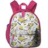 Haixia Child Boys&Girls School Backpack with Pocket Cars Watercolor Hand Drawn Flying Taxis with Magical Wings Direction Arrows Travel Cab Decorative Yellow Grey