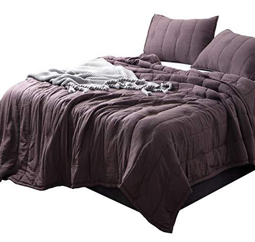 (ANNA.Z HOME, Ethan Comforter, Quilt, Stone Washed Microfiber 3 Pieces Set, Stitching and Embroidery, King and Queen Set Available in Solid Colors, Good for All Seasons. (Iron, Queen)