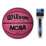 Wilson 28.5'' NCAA Pink Replica Game Basketball with 6'' Clear Pump