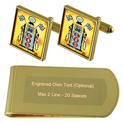 Pump Set Gold Money Route tone Cufflinks 66 Gift Clip Petrol Engraved 4xPqWwOR