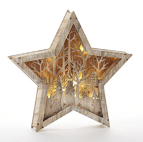 Delton Products Wood LED Star w/ Scene