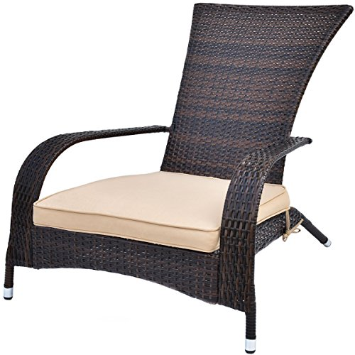 TANGKULA Wicker Adirondack Chair Outdoor Rattan Patio Porch Deck All Weather Furniture with Beige Seat Cushion Wicker Chair Lounger Chaise … (big with brown cushion) For Sale