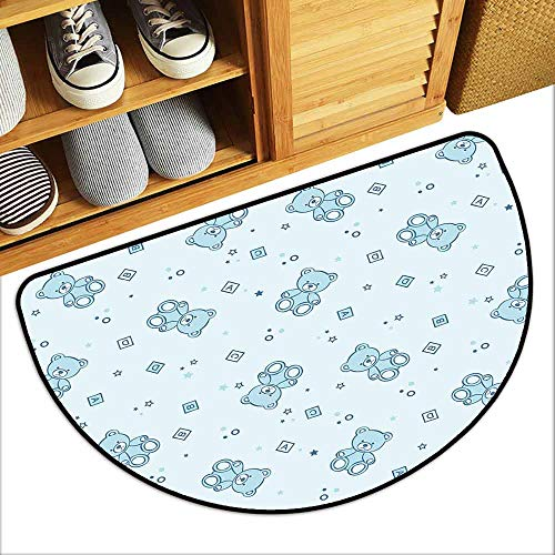 DILITECK Door mat Customization Nursery Teddy Bears and Toys with Letters on Children Imagery Baby Blue Background All Season General W36 xL24 Baby Blue Aqua