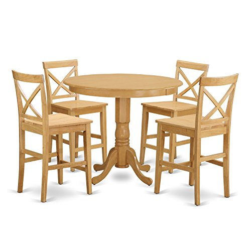 East West Furniture TRPB5-OAK-W 5 Piece Counter Height Table and 4 Chairs Set