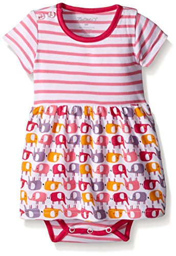 Zutano Baby Elephants Romper Dress, Ella, 6 Months (Zutano Dress Baby)