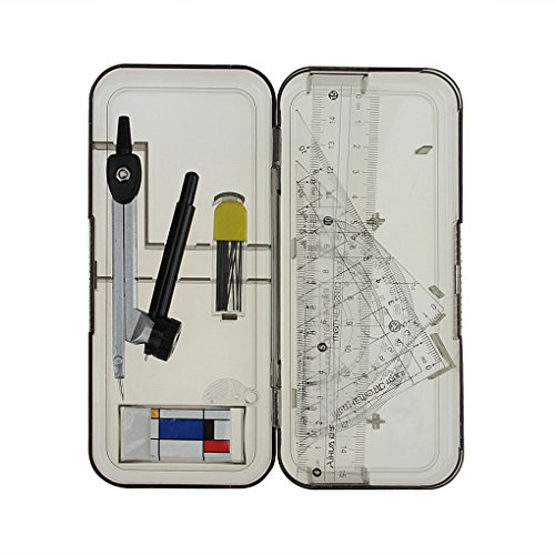 Study Kit Case (Clobeau 7-piece Metal Compass Ruler Set Students Study Geometry Kit Math Drawing Drafting Tools with Carrying Case, Black)