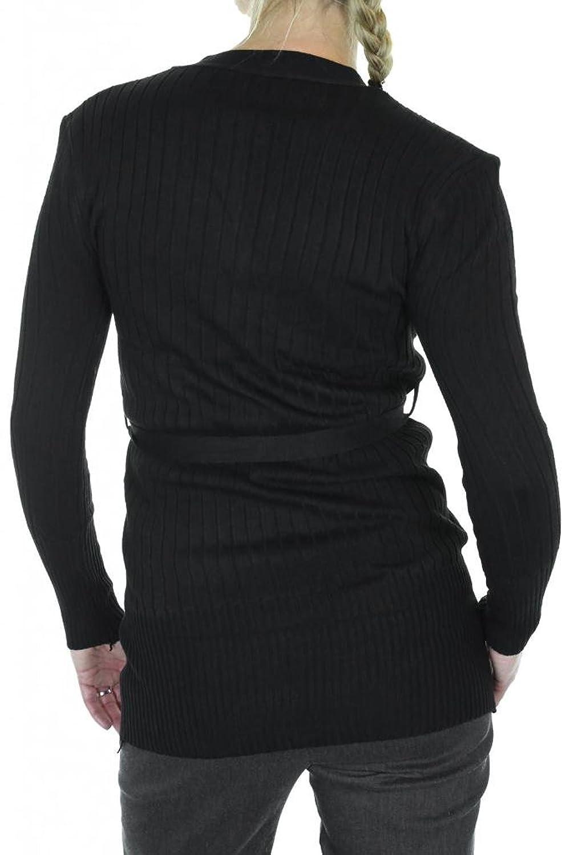 (7463-1) Thin Rib Knit Button Front Cardi Tie Belt Black (Fits 2-10)