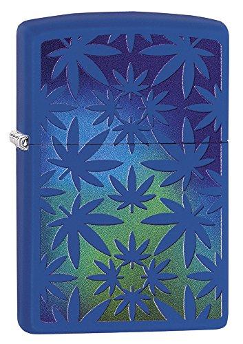 Zippo Lighter: Weed Leaves - Royal Blue Matte 79443