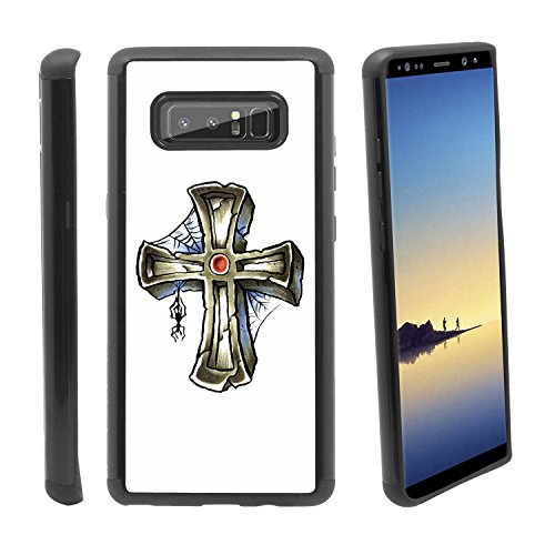 [Gravestone and Spider] for Samsung Galaxy Note 8 Hybrid Heavy Duty Armor Shockproof Silicone Cover Rugged case ()