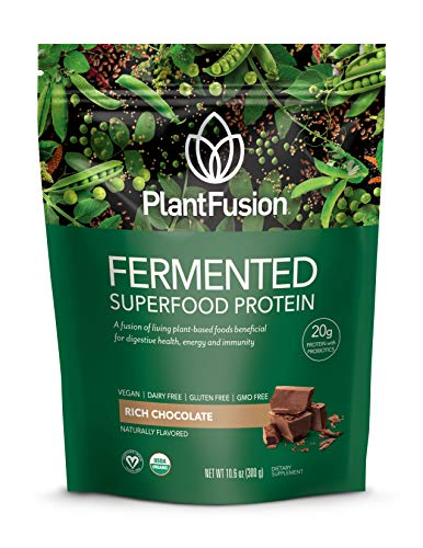 PlantFusion Fermented Superfood Protein Powder, Rich Chocolate, 10.6 oz Packet, USDA Organic, Gluten Free, Vegan, Non-GMO, Packaging May Vary Review
