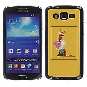 GOODTHINGS Funda Imagen Diseño Carcasa Tapa Trasera Negro Cover Skin Case para Samsung Galaxy Grand 2 SM-G7102 SM-G7105 - rey caricatura parodia hombre corona monarquía