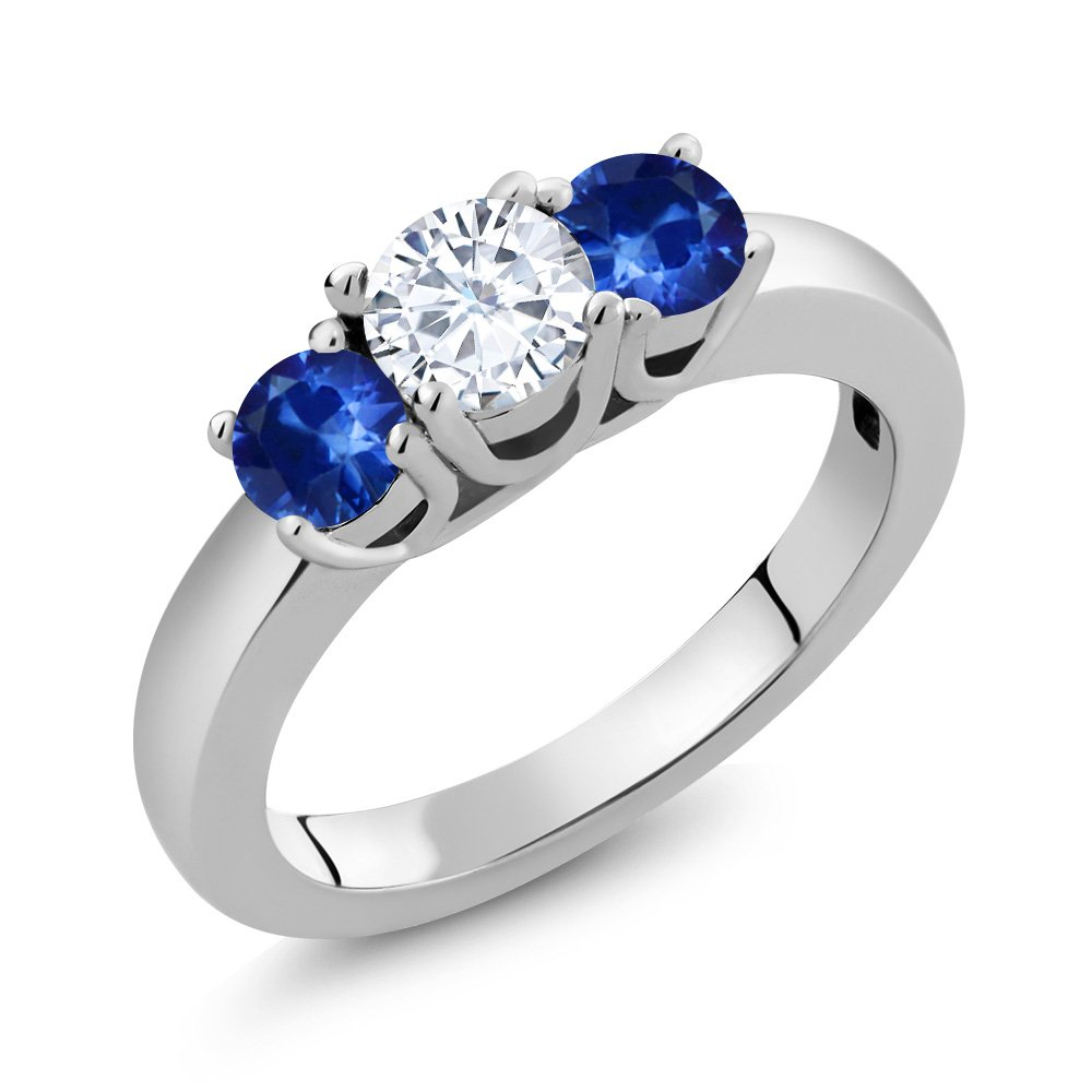 1.22 Ct Round White Created Moissanite Blue Sapphire 925 Sterling Silver Ring (Available in size 5, 6, 7, 8, 9)