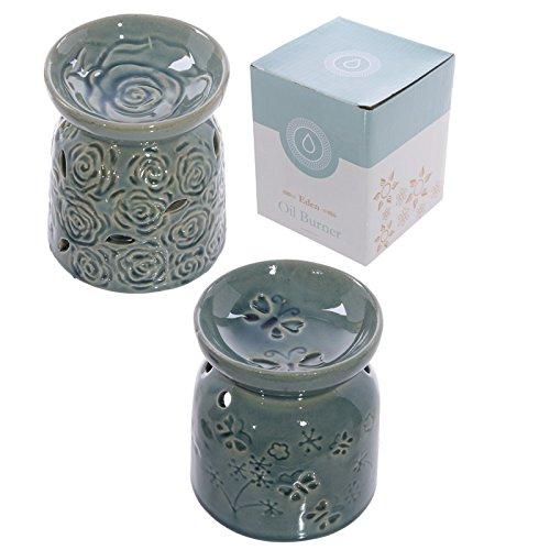 Bruciaolio brucia olio essenze in ceramica con rose o farfalle