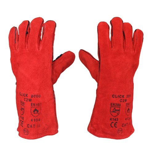 12 x Welding Gloves Long Leather Gaunlets Heat Resistant Lined MIG ARC Welders by All Trade Direct