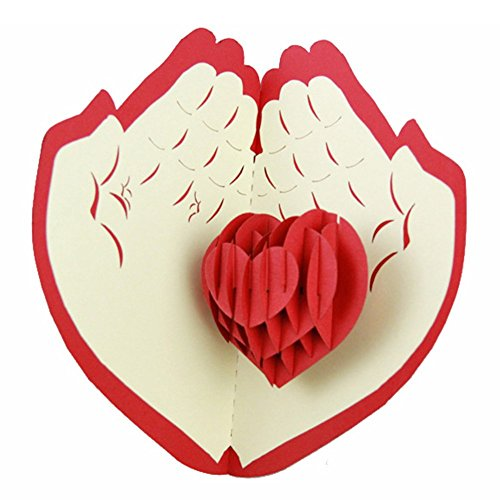 KingKeyGo 3D Pop Up Customized Greeting Card Happy Birthday Good Luck Wedding Anniversary Friendship Merry Christmas Thanksgiving Father's Day valentine's Day(Heart)