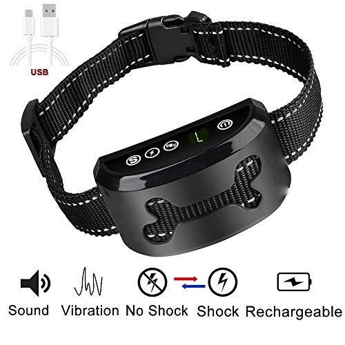 LibbyPet Anti Dog Barking Collar Upgrade 2018 – USB Rechargeable Harmless Vibration No Bark Collar Dog Training Device with 7 Sensitivity for Small Medium Large Dog (Smart Collar – Black) For Sale