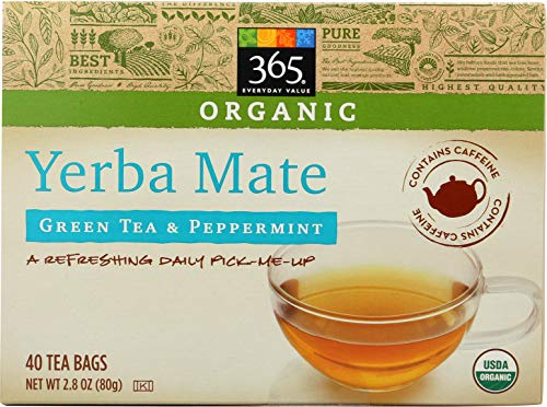 Mate Green Yerba Organic (365 Everyday Value, Organic Yerba Mate with Green Tea & Peppermint (40 Tea Bags), 2.8 oz)