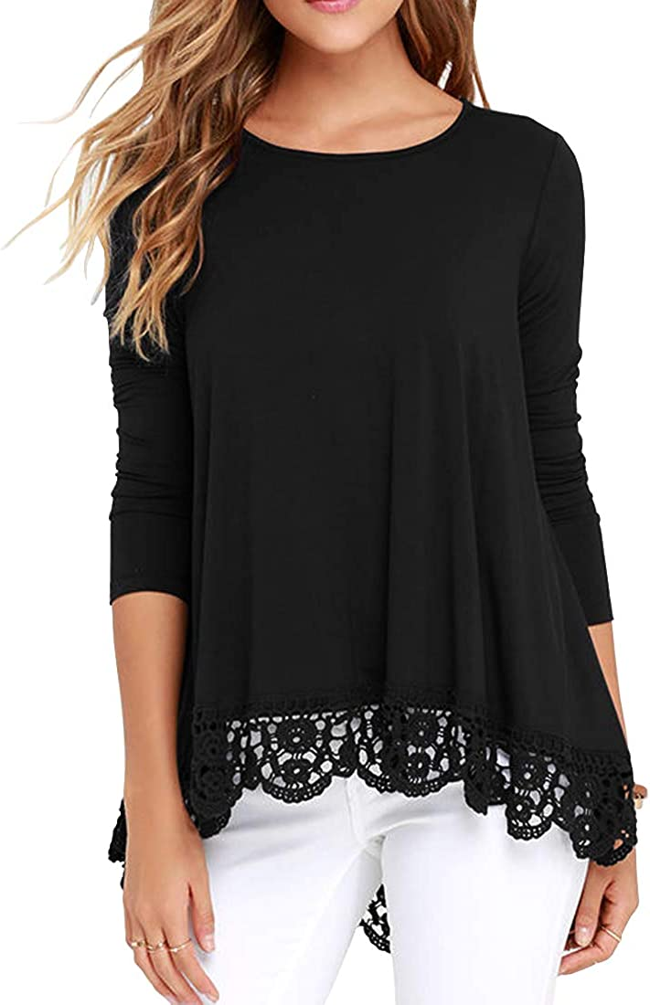 QIXING Women's Tops Short Sleeve/Long Sleeve Lace Trim O-Neck A Line Tunic Blouse at  Women's Clothing store