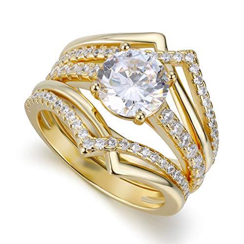 18k Bridal Set Ring - Lateefah 3 PCS Wedding Sets for Women, 1.8 Carat Round Cubic Zirconia Bridal Ring Set for Women, 18k Gold Plated Engagement Ring Size 6-9
