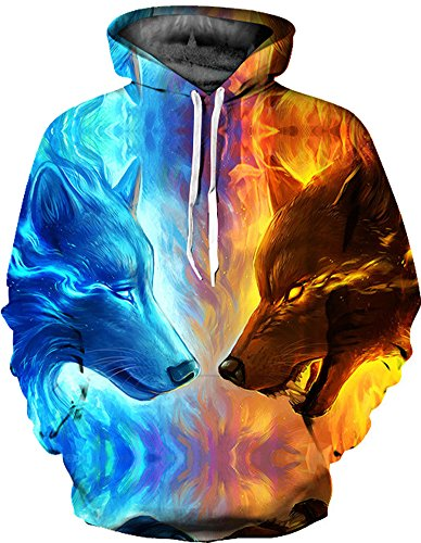 Azuki Unisex Realistic 3D Print Pullover Hooded Hoodies With Big Pocket