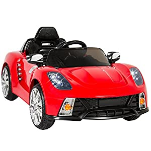 Best Choice Products 12V Kids Battery Powered Remote Control Electric RC Ride-On Car w/ 2 Speeds, LED Lights, MP3, AUX - Red from Best Choice Products