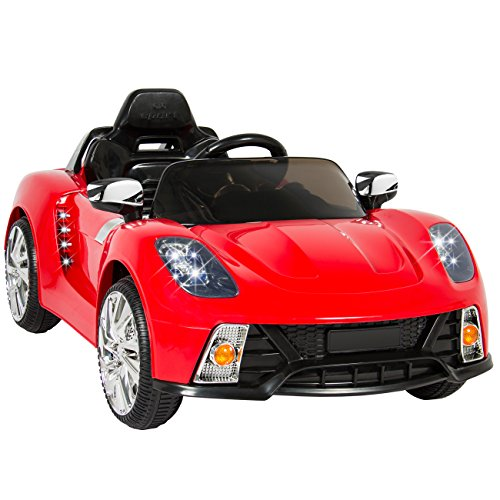 Best Choice Products 12V Kids Battery Powered Remote Control Electric RC Ride-On Car w/ 2 Speeds, LED Lights, MP3, AUX - Red]()