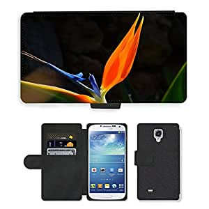 Super Stella Cell Phone Card Slot PU Leather Wallet Case // M00104218 Bird Of Paradise Flower Flower Red // Samsung Galaxy S4 S IV SIV i9500