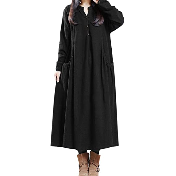Xmiral Women Dress Vintage Long Sleeve Casual Loose Button Tops Blouse Midi Shirt Dress