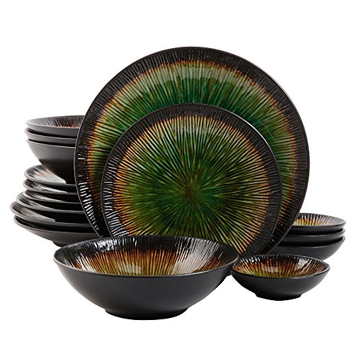 Gibson Elite Shangri-La Court 16-Piece Dinnerware Set, Jade Review