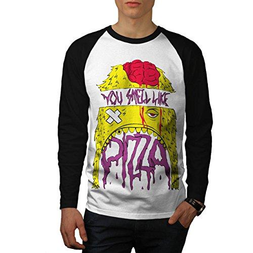 Smell Pizza Zombie Dead Hungry Men NEW XXL Baseball LS T-shirt | Wellcoda (Zombie Pizza)