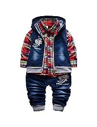 YAO YAO Spring Autumn Baby Boys 3pcs Clothing Set Cotton Shirt Jeans Denim Vest