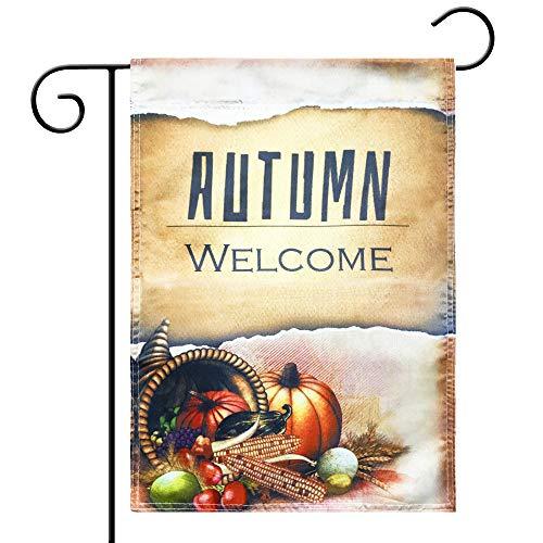 """(Kind Girl Autumn Flag Season Flag Welcome Pumpkin Fall Garden Flag 12""""×18"""",Indoor and Outdoor Flags,Harvest Season,Everyone's Harvest,Double-Sided (Autumn, Food))"""