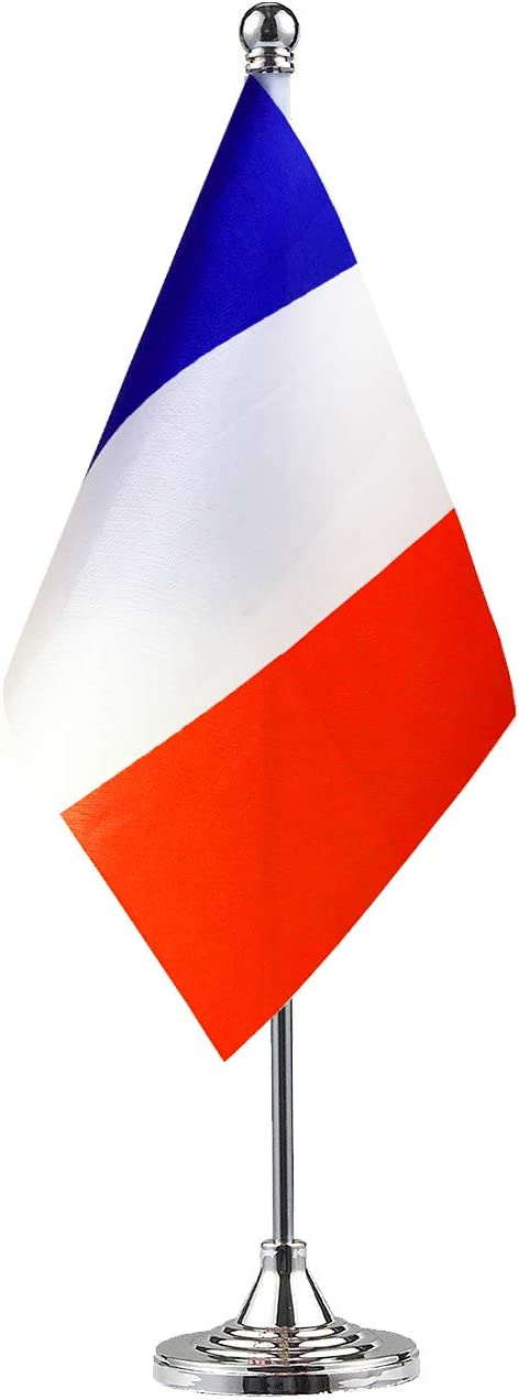 NoLogo France French Stand Base Flag Table Desk Flag,Metal Stand and Base and Country Flag Banners,for Home Garden Office Decoration, Festival Celebrations.