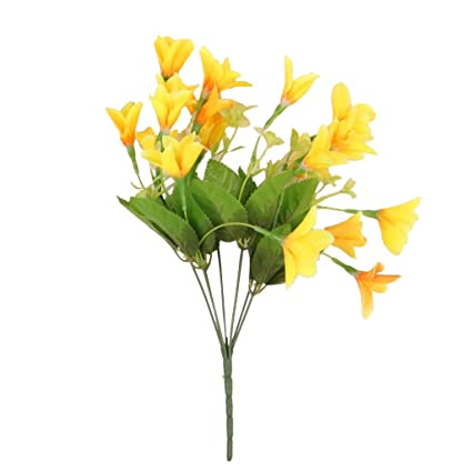 Amazon magideal 1 bunch lily lilium nanum artificial flower magideal 1 bunch lily lilium nanum artificial flower bouquet white yellow purple flowers arrangements mightylinksfo