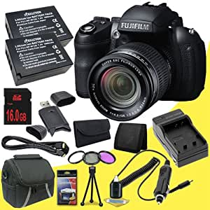 Fujifilm FinePix HS35EXR 16 MP Digital Camera (Black) + Two NP-W126 Replacement Lithium Ion Batteries + External Rapid Charger + 16GB SDHC Class 10 Memory Card + SDHC Card USB Reader + 3 Piece Filter Kit + Carrying Case + Mini HDMI Cable + Memory Card Wallet + Deluxe Starter Kit DavisMax Bundle