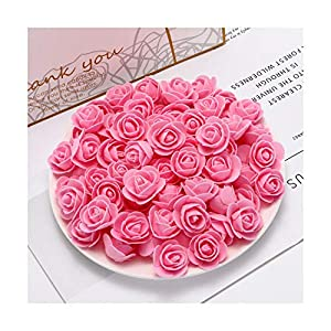 HANBINGPO 50pcs PE Mini Artificial Flowers for Home Wedding Decoration Accessories Fake foma Bears Scrapbook DIY Wreath Needlework 107