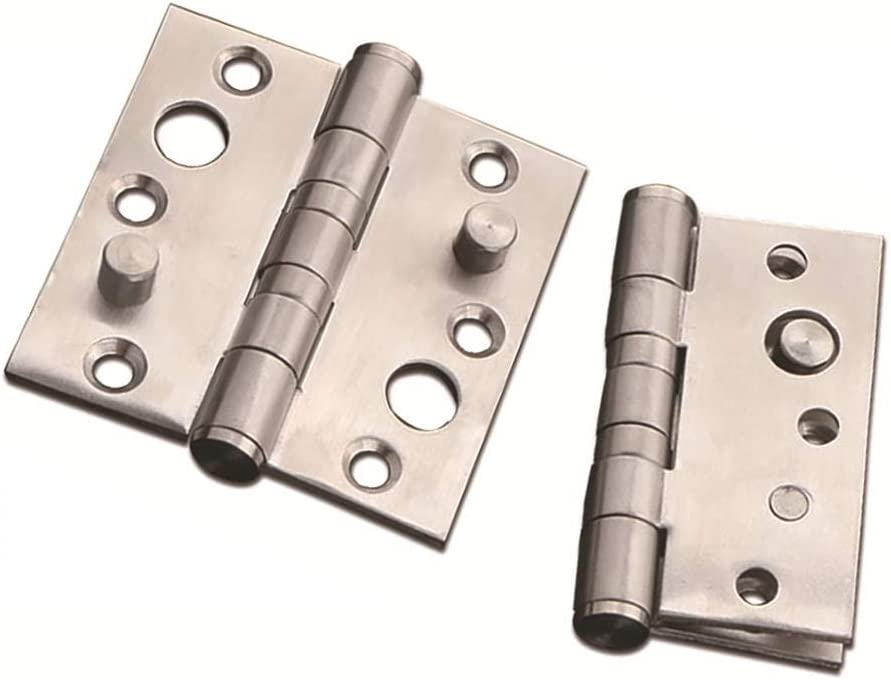 Color : Silver, Size : 4inch Butt Hinges 4 Pack 4in Groove-Free Thickened Mute Flush Hinges Furniture Hardware for Cupboard Door Room Door Multicolor Optional Ideal for Internal External Doors