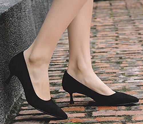 keel Sexy Pointu Aisun Basse Escarpins Noir Bout Kitten Femme cpT5Wg5I