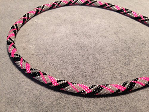 Necklace Hot Pink Black Grey Silver Beaded Bead Crochet Rope