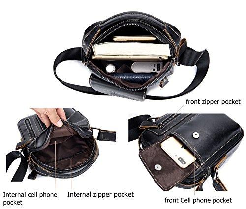 Genuine Leather Men Bags Small Shoulder Crossbody Bag for Men Everyday Casual Travel Messenger Bag Handbag (black) by BULLCAPTAIN (Image #3)