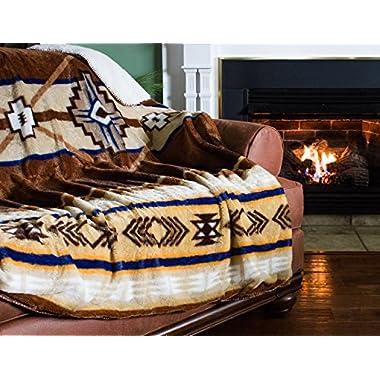 Cozy Fleece Oversized Southwestern Throw with Reverse Sherpa, 60 x 80 , Neutral