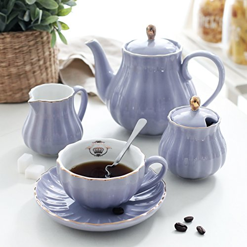 Porcelain Tea Sets British Royal Series, 8 OZ Cups& Saucer Service for 6, with Teapot Sugar Bowl Cream Pitcher Teaspoons and tea strainer for Tea/Coffee, Pukka Home (Milk Purple) by Pukka Home (Image #1)