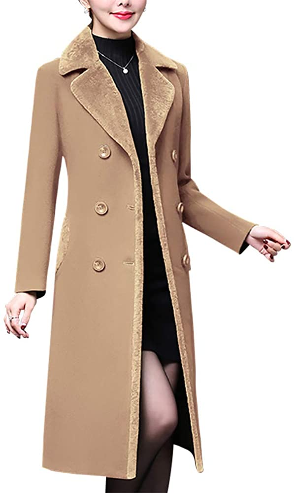 SPORTTIN Womens Basic Essential Double Breasted Notched Lapel Mid-Long Wool Blend Pea Coat