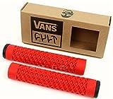 Cult X Vans Flangeless Grips w/ Black End Plugs Waffle Pattern BMX Bike - RED