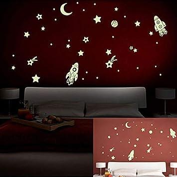 Pegatinas Luminosas De Pvc Para Pared Que Brillan En La Oscuridad Estrellas Espaciales Planeta Cohete Para Niños Manualidades Murales Kitchen Dining