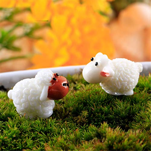 Cute Mini Sheep Resin Crafts Home Decorative NEW Fashion Artificial Figurine Fairy Garden Miniatures Micro Landscape 2 Pcs