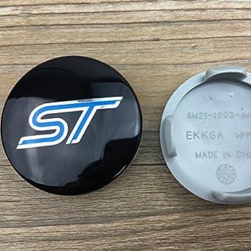 HDCF 4 tapacubos de aleación de Color Negro y Azul de la Marca GT350R Shelby Mustang Escape Mondeo Fusion de 54 mm: Amazon.es: Coche y moto