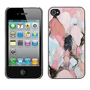FECELL CITY // Duro Aluminio Pegatina PC Caso decorativo Funda Carcasa de Protección para Apple Iphone 4 / 4S // Oil Painting Feminine Pink Teal Abstract
