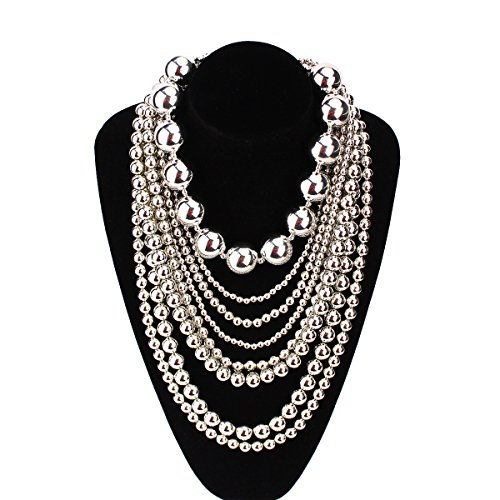 White Pearl Ball Cluster Necklace (MeliMe Luxury Bright Simulated Pearl Multi-Strand Choker Necklace, 30