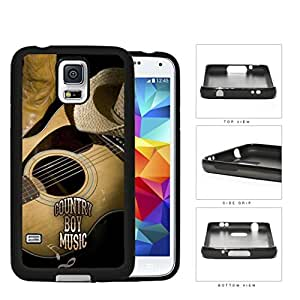 Country Boy Music with Acoustic Guitar and Cowboy Boots and Hat Samsung Galaxy S5 SM-G900 Rubber Silicone TPU Cell Phone Case